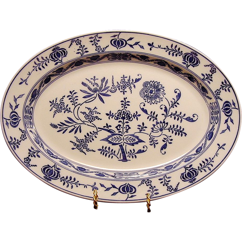 Gorgeous Blue Onion Pattern Platter by VILLEROY & BOCH (Dresden, Germany) - ca 1874 - 1920s