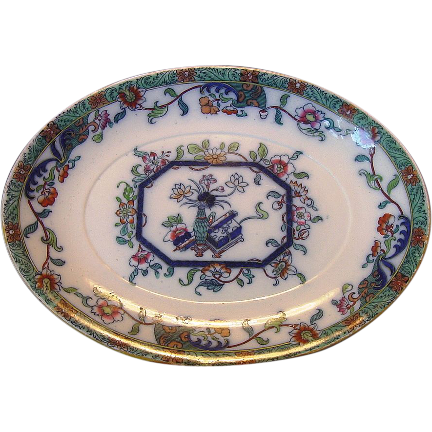 Colorful English Earthenware Platter ~ Asian Design ~ Ashworth England 1862-1890