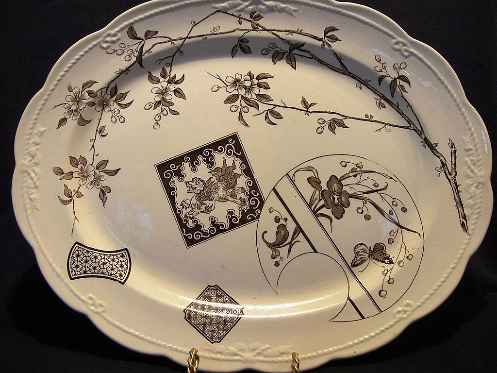 "Wonderful 16"" English Aesthetic Platter / Tray ~ Brown Transferware with Lion, Butterfly & Flowers ~  POWELL & BISHOP / (Powell, Bishop & Stonier  ) Staffordshire, UK) 9/10/1881"