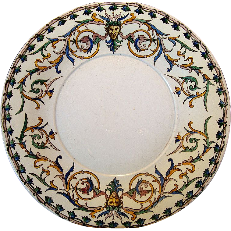 "Rare Gien French Faience / Majolica RENAISSANCE 12"" Platter or Chop Plate~ Decorated with Raised Enamel ~ Gien 1871-1875"