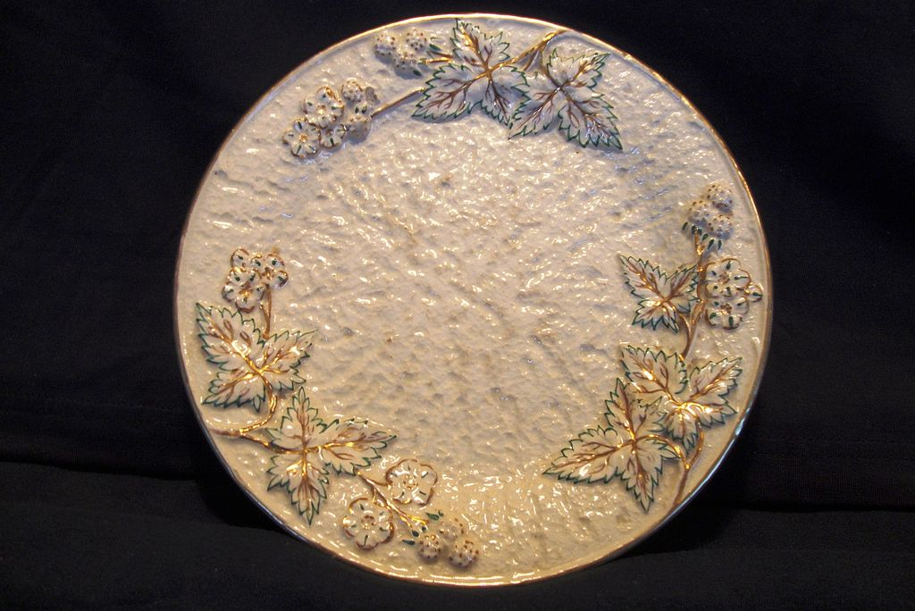 Wonderful American Avalon Faience Majolica ~ Leaves, Berries and Flowers ~ Chesapeake Pottery ~ David Haynes & Co Baltimore MA 1882-1890