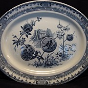 "Amazing Blue and White English Aesthetic 14 ½"" Platter ~ Birds, Trees, Scenes and Flowers ~ Pattern ""Pavia"" Benjamin & Sampson Hancock B. & S. H. 01/06/81 Stoke Staffordshire"