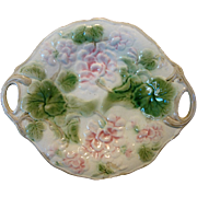 Beautiful Majolica Double Handled 11 1/2'' Tray / Platter with Pink / Purple Geraniums ~ Attributed to Griffen, Smith, Hill Etruscan ca 1880's