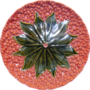 "Colorful 12"" German Majolica Charger ~ Pink with Green Lily of the Valley ~ Schramberg Germany 1928-1945 - Red Tag Sale Item"