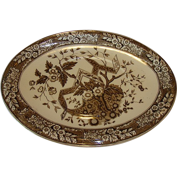 "Earthenware Platter ~ 14 3/4"" Wedgwood Brown Aesthetic  ~ Beatrice Pattern ~ Wedgwood & Co England 1880"