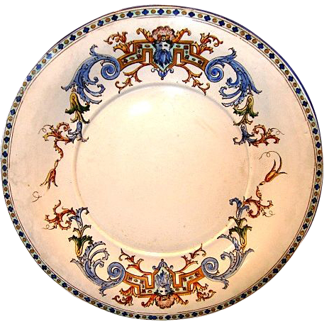 "Gien French Faience / Majolica RENAISSANCE 11 1/2"" Platter or Chop Plate~ Decorated with Raised Enamel ~ Gien France 1871-1875"