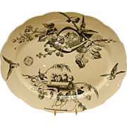 "Magnificent 18 1/2""  Platter with Birds, Butterflies,Berries, Flowers &  Mice ~ Powell, Bishop & Stonier  ~ P. B. & S. ~ Hanley Staffordshire  England 1880"