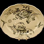 "Platter ~ 18 1/2"" ~with Birds, Butterflies,Berries, Flowers &  Mice ~ Powell, Bishop & Stonier  ~ P. B. & S. ~ Hanley Staffordshire  England 1880"