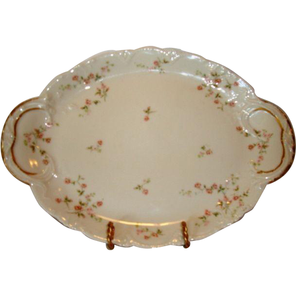 "Beautiful 14"" Limoges Porcelain Platter ~ Pink Roses ~ Emery Bird Thayer Co Kansas City  MO ~ Theodore Haviland Limoges France ~ 1903"