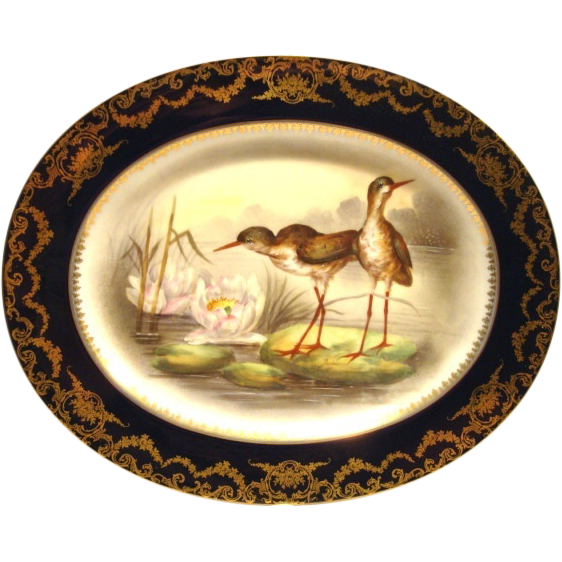 "Gorgeous 16.5"" long Game Platter ~ Limoges Porcelain ~ Hand Painted with Cobalt Rim & Shore Birds on Lily Pads ~ Artist 'Duches' signed ~  Delinieres & Co Limoges/ Bernardaud & Co Limoges France 1900-1922"