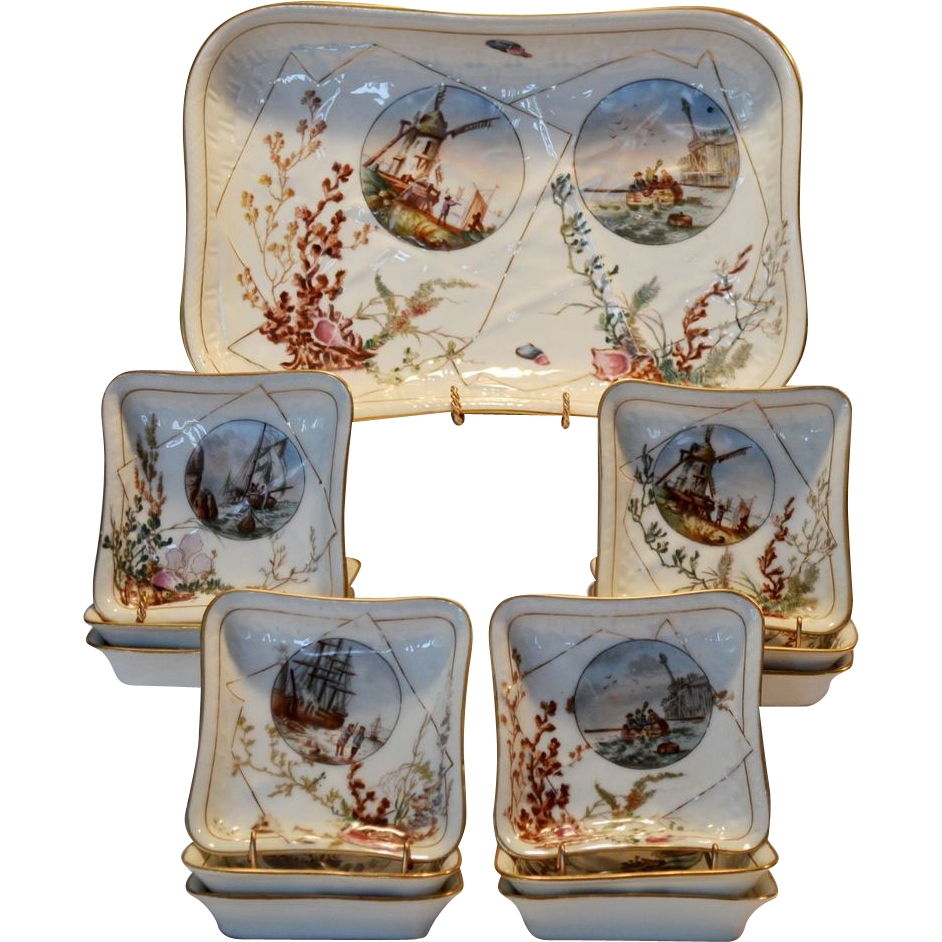 Awesome Haviland Ice Cream Set ~ Platter with 12 Dishes ~ Seaside Décor with Shells, Seaweed, & Ships ~ Charles Field Haviland / Gerard Dufraisseix & Morel Limoges France 1882-1862