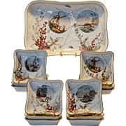 Limoges Ice Cream Set ~ Platter with 12 Dishes ~ Seaside Décor with Shells, Seaweed, & Ships ~ Charles Field Haviland / Gerard Dufraisseix & Morel Limoges France 1882-1862