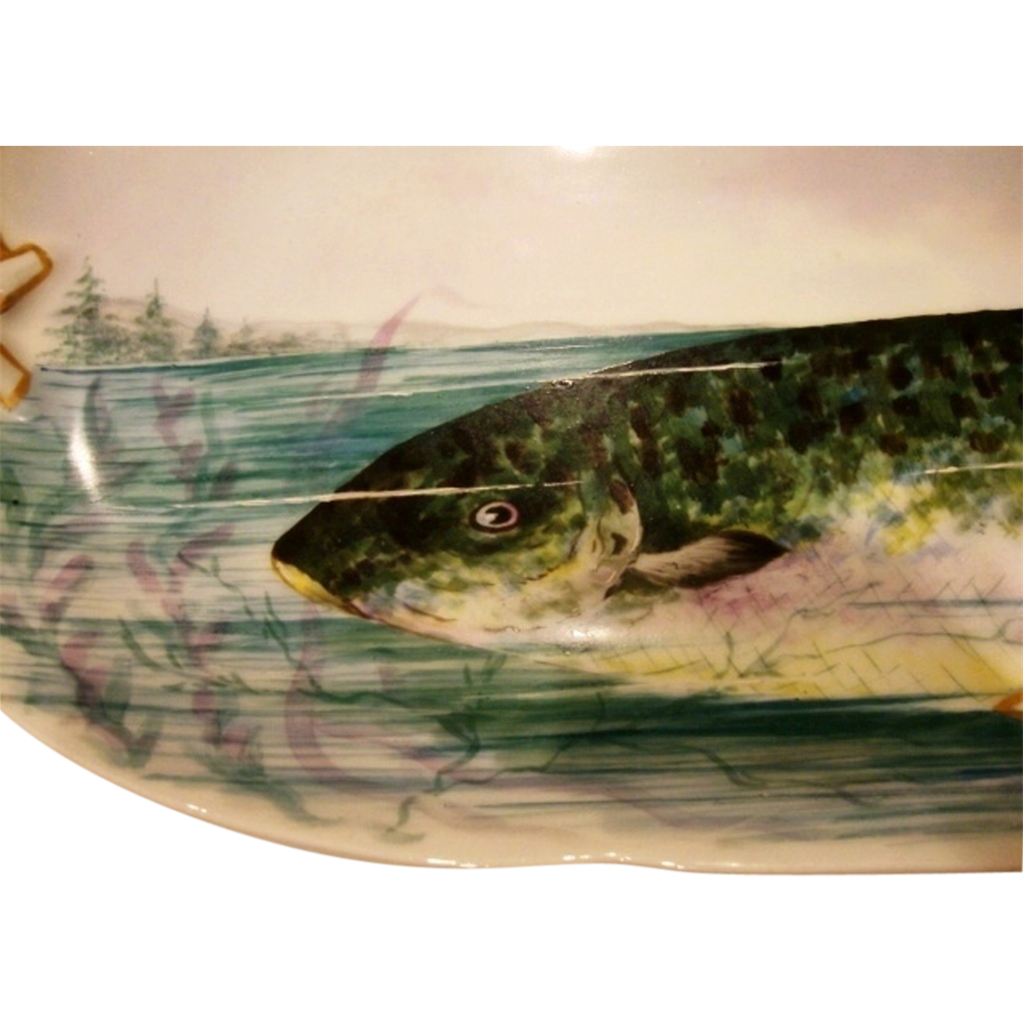 "Exquisite and large Limoges Fish Platter ~ 25 3/8"" L ~ Hand Painted with an Amazing Fish in Net ~Artist Initialed and dated 1892~ Delinieres & Co Limoges France"