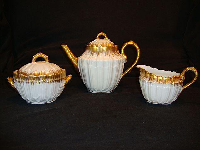 Exquisite Raised Relief Limoges Porcelain Tea Set ~ Teapot, Creamer & Sugar ~ Hand Painted ~ White & Gold ~ Martial Redon Limoges France / A. KLINGENBERG & CHARLES L. DWENGER  1882-1896