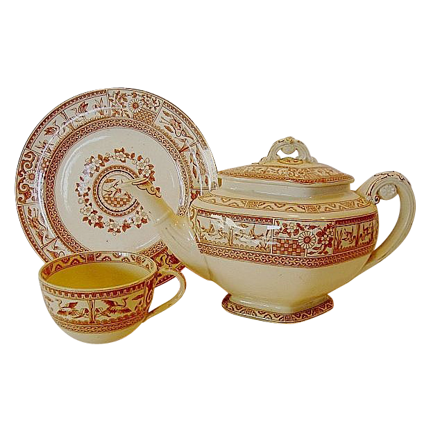 RARE 1880 (3 Piece set + lid) Aesthetic English Teapot, Cup and Saucer – Reddish Brown Transfer with Flora and Birds ~ Bates, Gildea & Walker Burslem Staffordshire  11/24/1880