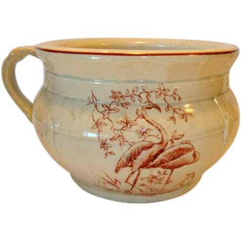 Great Earthenware Chamber Pot ~ Brown Transfer of Birds & Foliage ~ late 1800's – early 1900's