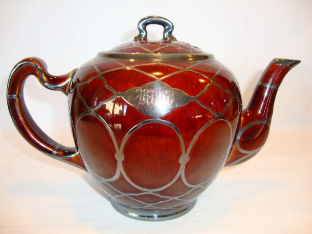 Beautiful Porcelain Reddish Brown Teapot with Mesh Sterling Silver Overlay ~ Lenox and Mauser 1906