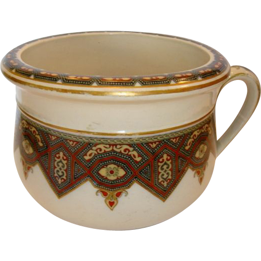 Beautiful Earthenware Chamber Pot / Flower Pot ~ Art Deco Geometric Design