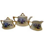 Wonderful Bavarian Tea Set Teapot, Creamer, Sugar and 3 cups / saucers ~ Hand painted with Purple Violets ~ Zeh Scherzer &; Co Bavaria 1880-1918