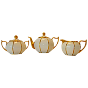 Cute 5 piece Coffee/ Tea set ~ Lidded 8 sided Melon Shaped Pot, Sugar & Creamer ~ White & Gold ~ Zeh Scherzer & Co ~ Stouffer Studio 1906-1914