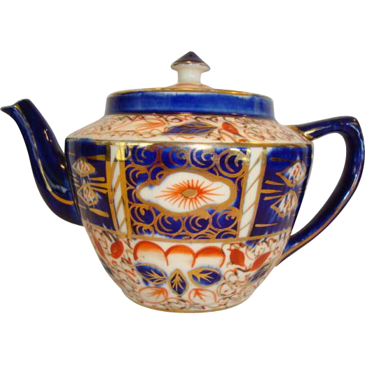 Wonderful English China Teapot ~ Gaudy Welsh Orange, Blue and Gold Designs ~ England