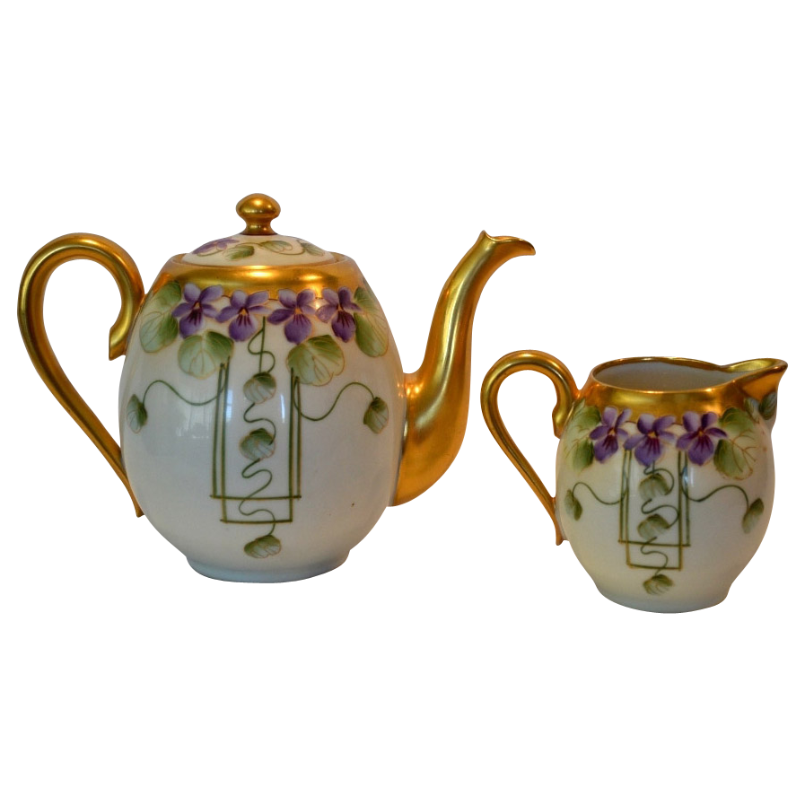Fantastic Teapot and  Limoges Creamer ~ Pickard Decorated ~ Violets in Panel ~ Pickard Decorating Studio Chicago, IL / William Guerin Limoges France 1910-1912