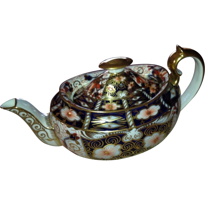 Exquisite Royal Crown Derby Traditional Imari China Teapot ~ Holds 2 1/3 Cups -Pattern 2451 ~ England 1938