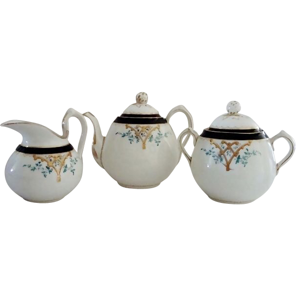 Dainty Limoges Teapot, Creamer and Sugar Set ~ Hand Painted with Art Nouveau Designs~ Haviland & Co Limoges France 1879-1883