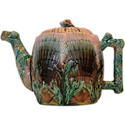 Gorgeous Etruscan Majolica Teapot ~ Seaweed / Seashell~  Griffen, Smith, Hill prior to 1879