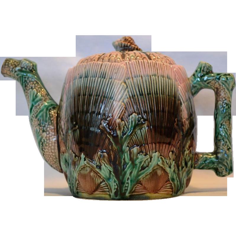 Gorgeous Etruscan Majolica Teapot ~ Seaweed / Seashell~  Griffen, Smith, Hill prior to 1879