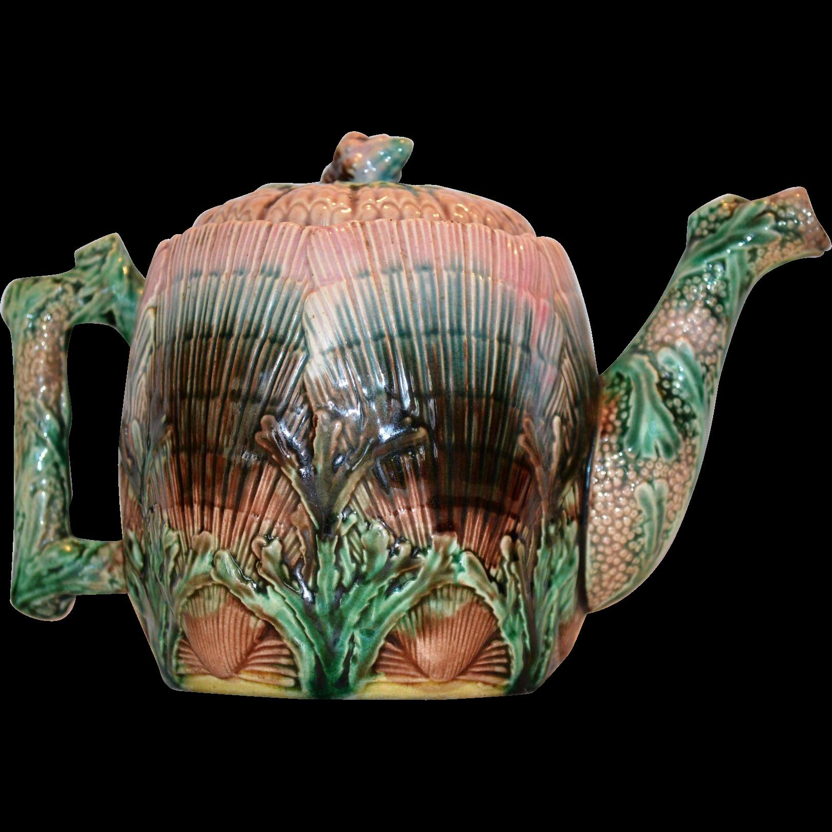 Teapot ~Etruscan Majolica ~ Seaweed / Seashell~ Griffen, Smith, Hill ~ Phoenixville, PA 1879-1892