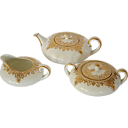 Elegant Antique Porcelain  Squat Teapot,  Creamer & Sugar Set ~ Golden Swags ~Paroutaud Freres Limoges France 1903-1917 ~ Comte d'Artois Limoges France