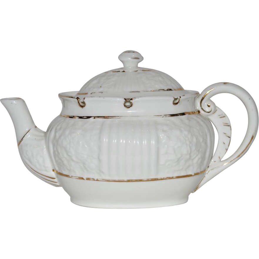 Rare Porcelain Lotus Ware Teapot ~ Venice mold ~ White with Gold Accents ~ Knowles Taylor & Knowles ~ Liverpool, Ohio 1892 – 1896