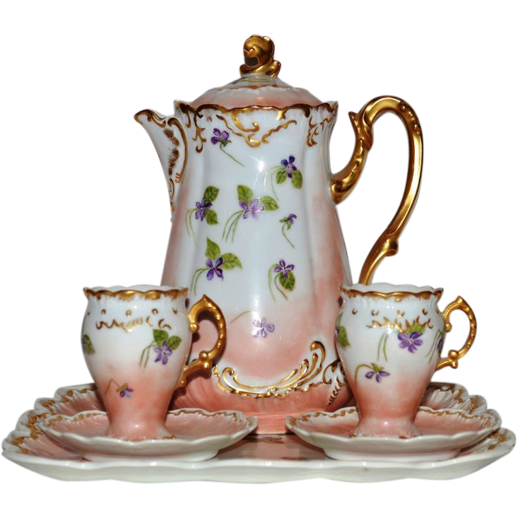 Exquisite Limoges Chocolate Pot, Tray, and two Stemmed Cups with Saucers ~ Hand Painted with Violets ~   R. Delinieres & Co Limoges France  /  Mavaleix & Granger  / Bawo & Dotter Elite Works Limoges France 1890-1900