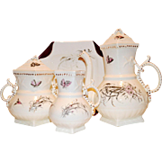 Exquisite Antique English Coffee / Tea Pot, Creamer and Sugar with Wild Flowers Sampson, Bridgewood & Son Staffordshire England 1885-1910