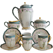 Exquisite Austrian Porcelain Chocolate Pot Set, Creamer &  Sugar, 4 Cups with Saucers ~ Hand Painted with Pink Flowers ~   Oscar & Edger Gutherz Royal Austria OEG1899-1916