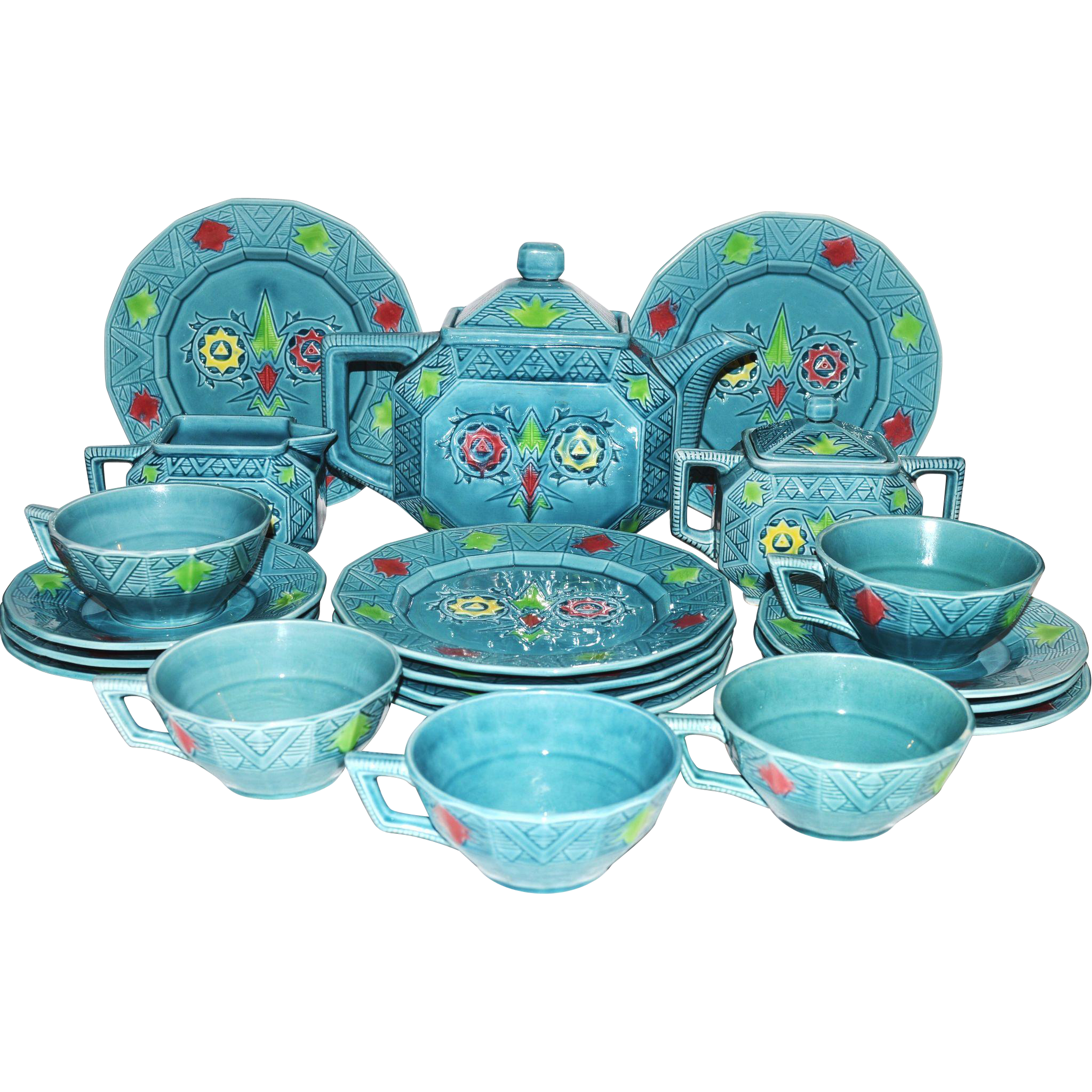 RARE  Majolica Tea & Dessert Set ~ Art Deco 22 Piece~ Turquoise with Colorful Geometric Designs ~ Georg Schmider – Zell Germany 1907-1928