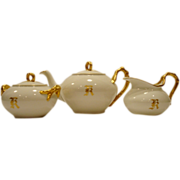 Gorgeous Limoges Teapot  Set with Creamer & Sugar ~ Split Rope Handles ~ White & Gold ~ Jean Pouyat Limoges France 1890-1932