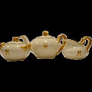 Gorgeous Limoges Teapot  Set with Creamer & Sugar ~ Split Rope Handles ~ White & Gold ~ Jean Pouyat Limoges France 1890-1932