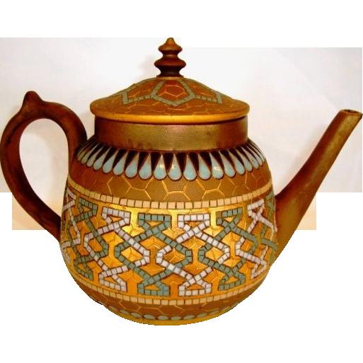 Fantastic Teapot ~ Doulton Lambeth Silicon ~ Art Deco with Geometric Designs ~ Artist Eliza Simmance ~ Doulton Lambeth England 1881-1891