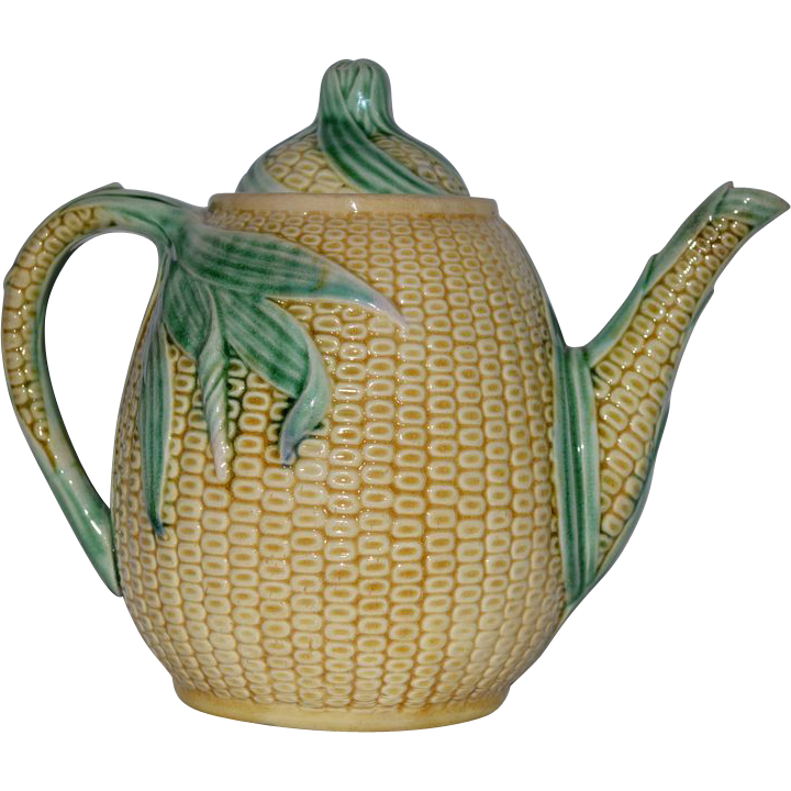 VERY RARE!! 135 Yr Old Etruscan Majolica Corn Teapot ~ Griffen Smith & Hill ~ Phoenixville, PA 1879-1880