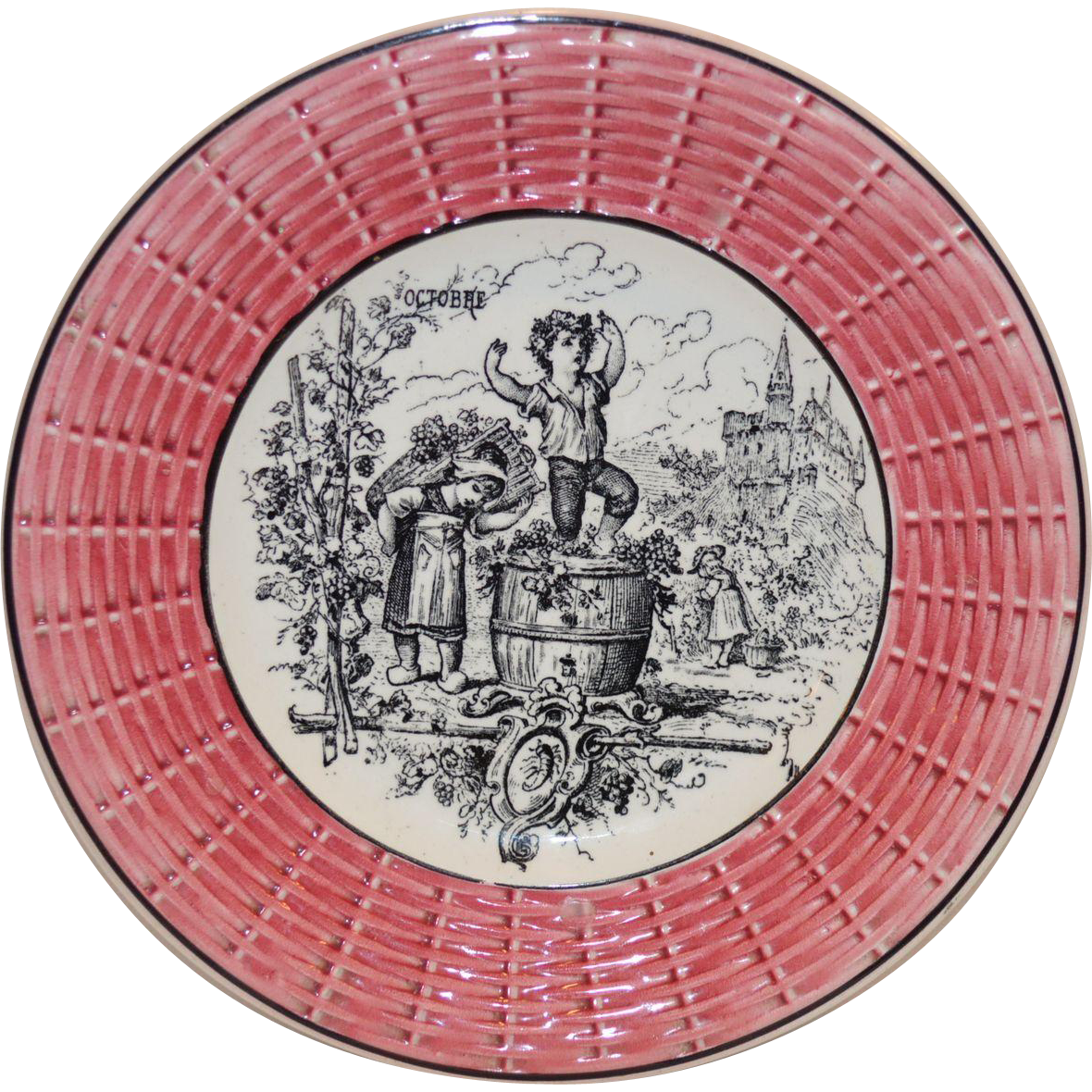"Awesome 7"" French Faience Plate ~ October w/ Children Stomping Grapes ~ Digoin Sarreguemines 1900's"