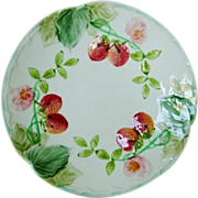 "Wonderful French Majolica 8 ½"" Plate with Red Ripe Strawberries ~ Boulenger Choisy-le-Roi, France 1860-1910"