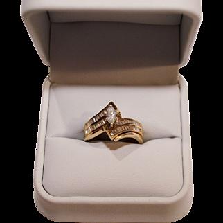 Beautiful Ring Set ~ 14 Karat Marquise Diamond  .42 Carats &  54 Baguette .27 Carats Size 6 1/2