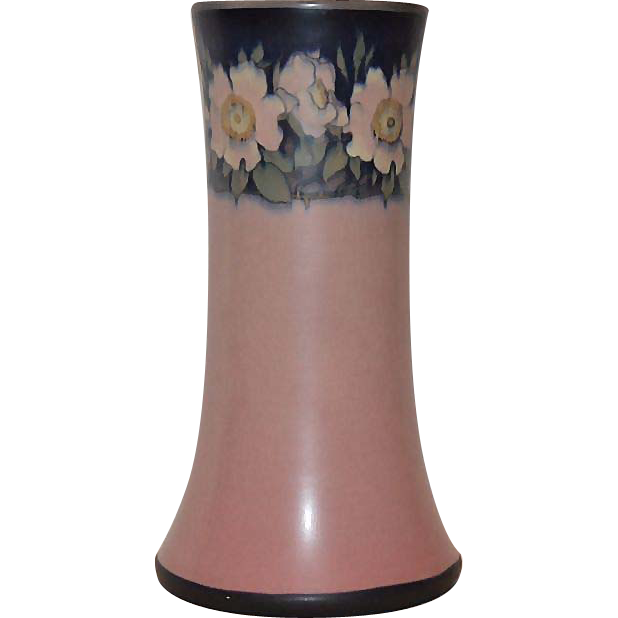 "REDUCED! Rookwood Vellum table lamp (Vase: 9 "" H x 5"" W) ~1918 ~ Signed Harriet E Wilcox ~ #1358D"
