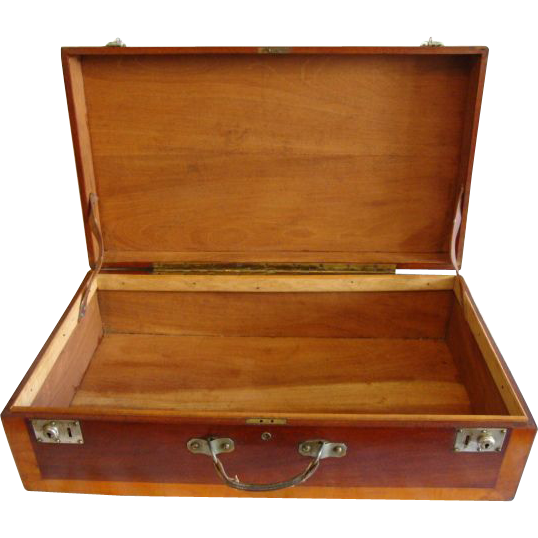 "Wooden Storage Chest /  Suitcase / Box ~Fantastic LARGE 28"" Hand Crafted~ Mahogany and Cherry ~ Leather Handle LATE 1930's"