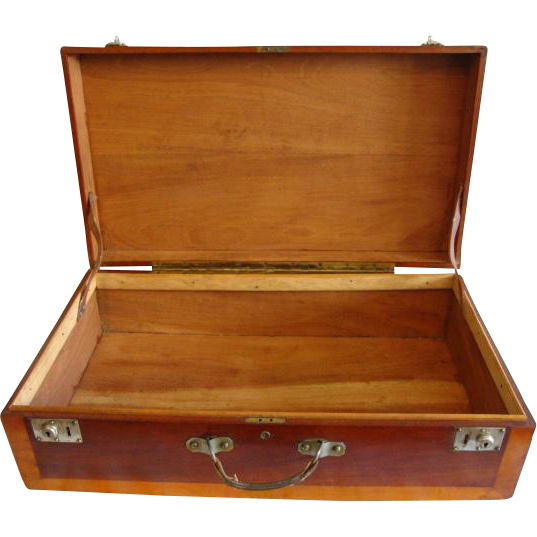 """Wooden Storage Chest /  Suitcase / Box ~28"""" Hand Crafted~ Mahogany and Cherry ~ Leather Handle LATE 1930's"""