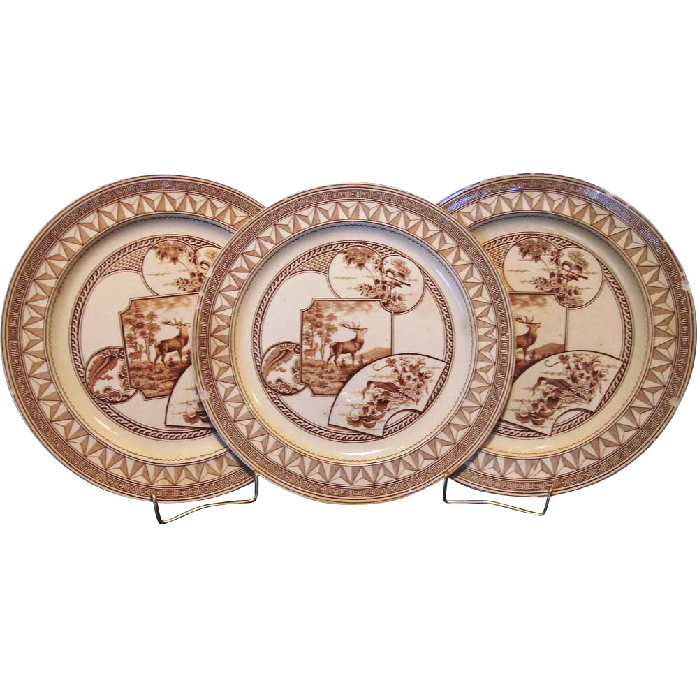 "(3) ~ Old English Earthenware Dinner Plates 9 3/8"" ~Brown Transfer ~ Aesthetic / Cartouches with Flowers / Deer / Birds ~ ""Warwick Pattern"" ~ J. Dimmock & Co Hanley Staffordshire, England 1880"
