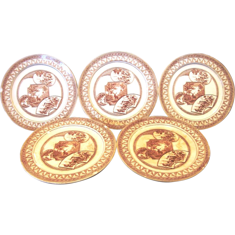 "(5) ~ Old English Earthenware Bread & Butter Plates 6 1/4""~Brown Transfer ~ Aesthetic / Cartouches with Flowers / Deer / Birds ~ ""Warwick Pattern"" ~ J. Dimmock & Co Hanley Staffordshire, England 1880"