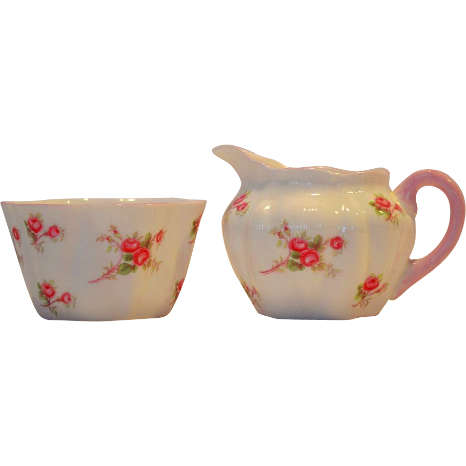 Shelley Bone China Creamer and Sugar Set ~ Rose Spray / Bridal Rose Pattern 13545~ Dainty Shape ~ Shelley England 1940-1966
